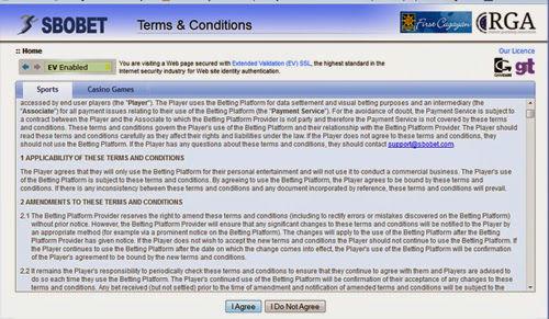 Peraturan dalam situs sbobet